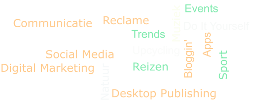Social Media Dieren Natuur Fotografie Sport Trends Events Communicatie Digital Marketing Reclame Desktop Publishing Muziek Reizen Do It Yourself    Bloggin'  Apps Upcycling